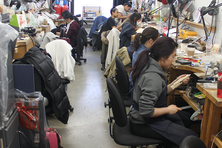 jewelry students working at their benches